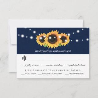 Navy Blue and Sunflower RSVP Card Meal Choice