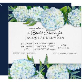 Navy Blue and White Hydrangea Floral Bridal Shower Invitation