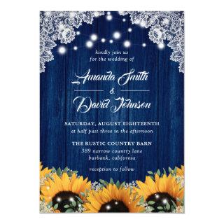 Navy Blue Barn Lace Sunflower Wedding Invitations