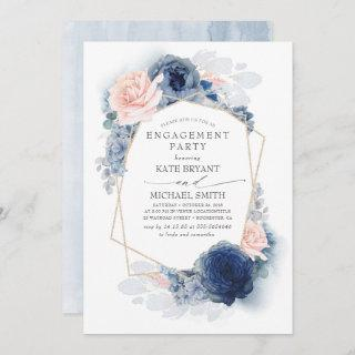 Navy Blue Blush Dusty Pink Floral Engagement Party Invitations
