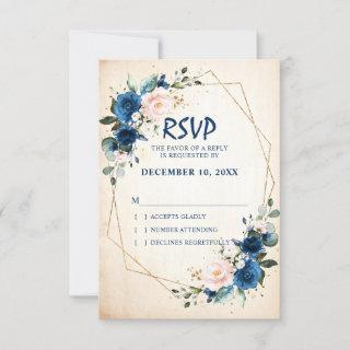 Navy blue Blush Floral Rustic Country Geometric RSVP Card