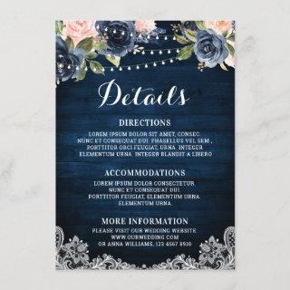Navy Blue Blush Floral Rustic String Light Details Enclosure Card