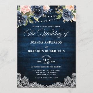 Navy Blue Blush Floral Rustic String Light Wedding Invitations