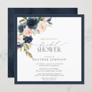 Navy Blue & Blush Floral Watercolor Bridal Shower Invitation