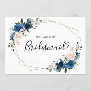 Navy Blue Blush Floral Will You Be My Bridesmaid Invitations