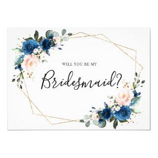 Navy Blue Blush Floral Will You Be My Bridesmaid Invitation