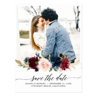 Navy Blue Blush Pink Burgundy Photo Save The Date Postcard