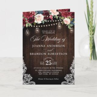 Navy Blue Blush Pink Rose Boho All in one Wedding  Invitations