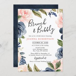 Navy Blue Blush Pink Rose Boho Bridal Shower Invitations