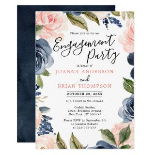 Navy Blue Blush Pink Rose Boho Engagement Party Invitations
