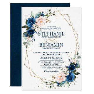 Navy Blue Blush Pink Rose Boho Geometric Wedding Invitations