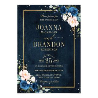 Navy Blue Blush Pink Rose Boho Geometric Wedding Invitation