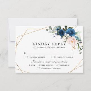 Navy Blue Blush Pink Rose Boho Geometric Wedding RSVP Card