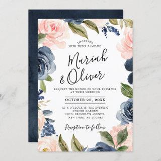 Navy Blue Blush Pink Rose Boho Wedding Invitation