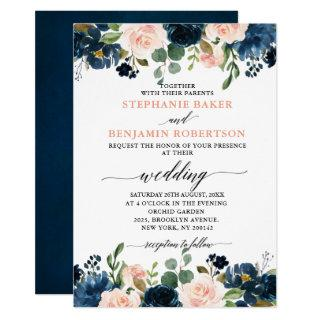 Navy Blue Blush Pink Rose Boho Wedding Invitations