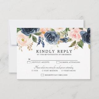 Navy Blue Blush Pink Rose Boho Wedding RSVP Card