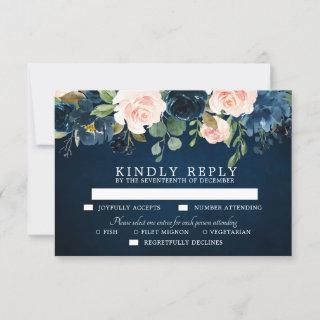 Navy Blue Blush Pink Rose Botanical RSVP Card