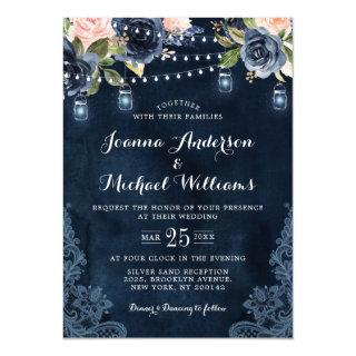 Navy Blue Blush Pink Rose String Lights Wedding Invitations