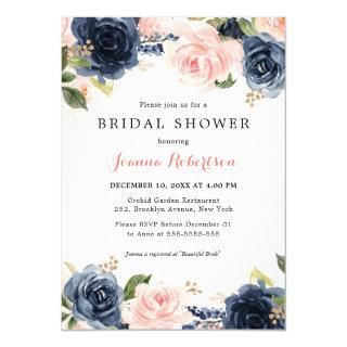 Navy Blue Blush Watercolor Floral Bridal Shower In Invitations