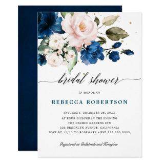 Navy Blue Blush Watercolor Floral Bridal Shower Invitations
