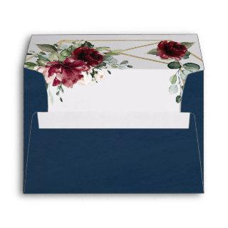 Navy Blue Burgundy Blush Gold Geometric Wedding Envelope