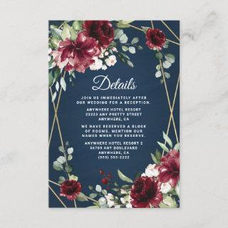 Navy Blue Burgundy Blush Pink Gold Floral Wedding Enclosure Card
