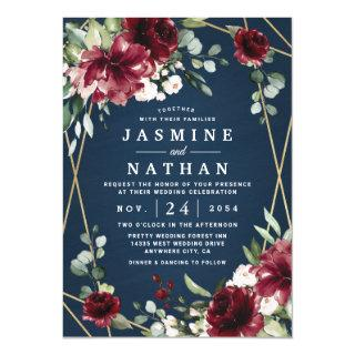 Navy Blue Burgundy Blush Pink Gold Floral Wedding Invitations