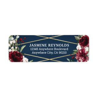 Navy Blue Burgundy Blush Pink Gold Floral Wedding Label