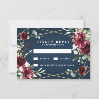 Navy Blue Burgundy Blush Pink Gold Floral Wedding RSVP Card