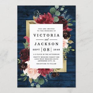 Navy Blue Burgundy Blush Pink Gold Rustic Wedding Invitation