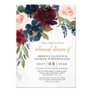 Navy Blue Burgundy Blush Pink Rehearsal Dinner Invitations