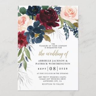 Navy Blue Burgundy Blush Pink Silver Gold Wedding Invitations