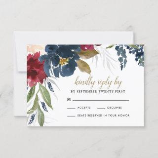 Navy Blue Burgundy Blush Pink Silver Gold Wedding RSVP Card