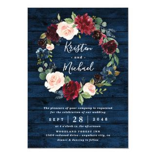 Navy Blue Burgundy Blush Watercolor Wreath Wedding Invitations