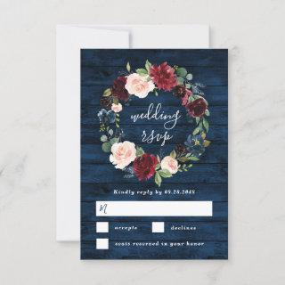 Navy Blue Burgundy Blush Watercolor Wreath Wedding RSVP Card