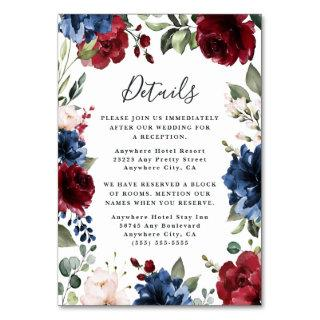 Navy Blue Burgundy Blush Wedding Enclosure Cards