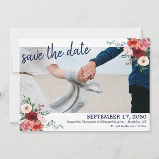 Navy Blue Burgundy Coral Floral Photo Wedding Save The Date