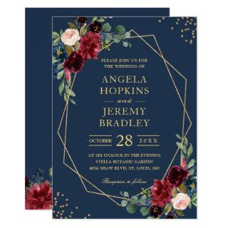 Navy Blue Burgundy Floral Gold Geometric Wedding Invitation