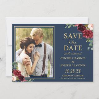 Navy Blue Burgundy Floral Gold Wedding Photo Save The Date