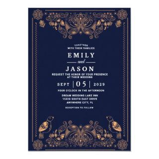 Navy Blue Burgundy Gold Blush Country Wedding Invitation