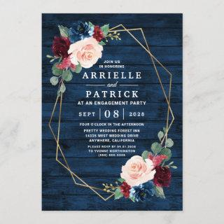 Navy Blue Burgundy Gold Blush Engagement Party Invitation