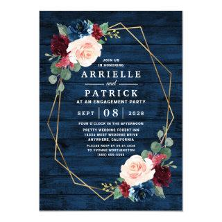 Navy Blue Burgundy Gold Blush Engagement Party Invitations
