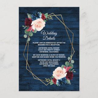 Navy Blue Burgundy Gold Blush Pink Country Wedding Enclosure Card