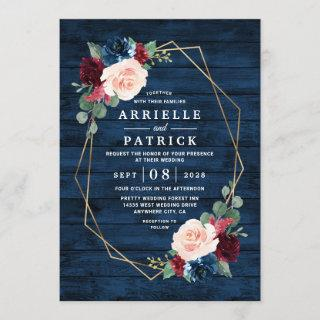 Navy Blue Burgundy Gold Blush Pink Country Wedding Invitations