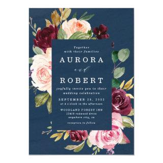 Navy Blue Burgundy Gold Blush Pink Floral Wedding Invitation