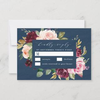 Navy Blue Burgundy Gold Blush Pink Floral Wedding RSVP Card