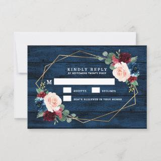 Navy Blue Burgundy Gold Pink Wedding RSVP Cards