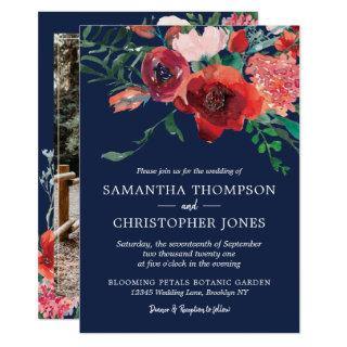 Navy Blue Burgundy Red Coral Floral Photo Wedding Invitations