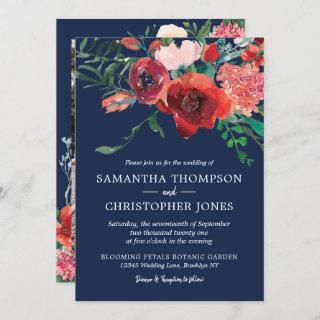 Navy Blue Burgundy Red Coral Floral Photo Wedding Invitation