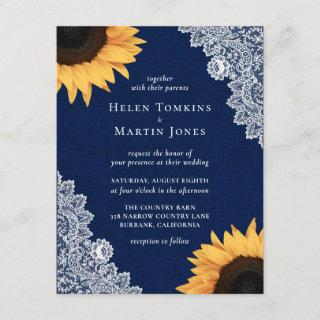 Navy Blue Burlap and Lace Sunflower Wedding Invitations